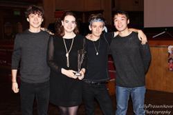 The winning team of (l-r) Michael Solski, Elizabeth Strange, Taylor Smith, Hui Zhang,