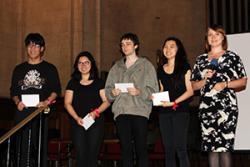 In third place were: Jiahui Liu, Norramon Tengcharoensuk, Jack McCaffrey, Methavee Chaloeyjitr, with Katerina Videnskaya (International Student Support Office)