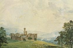 Paentiad o Gastell Cyfarthfa, cartref teulu Crawshay, perchnogion gweithfeydd haearn Cyfarthfa, Merthyr Tudful.: © Hawlfraint y Goron CBHC/ RCAHMW.