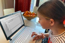Eleven year old Anest Heulfryn Smith, who usually attends Ysgol Gynradd Bontnewydd has been using Cysgliad whilst learning from home.