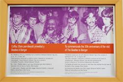 The plaque which was unveiled to commemorate the 35th Anniversary of the Beatles' visit to Bangor.