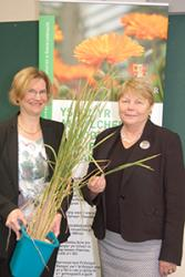 Dr Katherine Steele shows Baroness Randerson an example of a new variety of rice