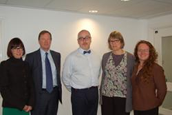 Dr Chris Burton (centre) withProf Jo Rycroft-Malone and Dr Nicky Callow and two members of the Health Foundation at an inaugural research meeting