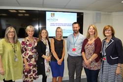 Jan Fereday Smith (left), head of Physiotherapy, Betsy Cadwaladr University Health Board and (right) Dr Elizabeth Mason, Deputy head School of Healthcare Sciences, congratulated the first independent prescribing physiotherapists in Wales.