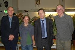 Dr Colin Clubbe, Dr Sopie Williams, Plant Conservation Lecturer;  Prof Oliver Turnbull, Pro Vice-Chancellor, Teaching & Learning and Nigel Brown, Curator of Treborth Botanic Garden at the Launch event.
