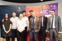 The shortlisted Santander Entrepreneurs were (l-r) Maisie Prior, Wil Philbin, Rhiannon Quirk, Ibrahim Kawasami, Duncan Pascoe, Alex Bailey, Ned Hartfiel and Robert brooks.