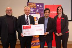 Having received his cheque, Hernan was congratulated by the Judging Panel.