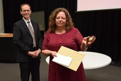 Dr Tracey Lloyd of the School of Psychology accepted an award on behalf of Kevin Larkin's family.