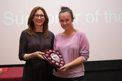 Hannah Lee receives the Award from Maria Lorenzini, Director of Student Experience at Bangor University.