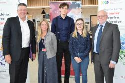 Matt Hutnell, Director of Santander Universities UK with Jan Lloyd Nicholson, John Mahon and Aneta Claridge, Bangor students who have  received support from Santander Universities, and Prof Graham Upton, acting Vice-Chancellor.