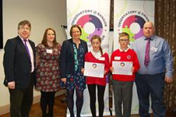 Pupils from Ysgol Biwmares presented their research. Here, with Prof Dermot Cahill, Helen Dale and Arwyn Roberts, who ran the Little Voices Project, and Children's Commissioner, Prof Sally Holland.