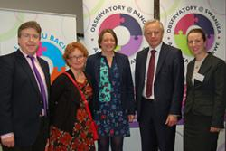 Left-right: Prof Dermot Cahill, Head of the Law School, Prof Jane Williams, Co-Director of Observatory Wales, Prof Sally Holland, the Children's Commissioner for Wales and Dr. Yvonne McDermott Rees of Observatory@Bangor and Bangor Law School at the launch