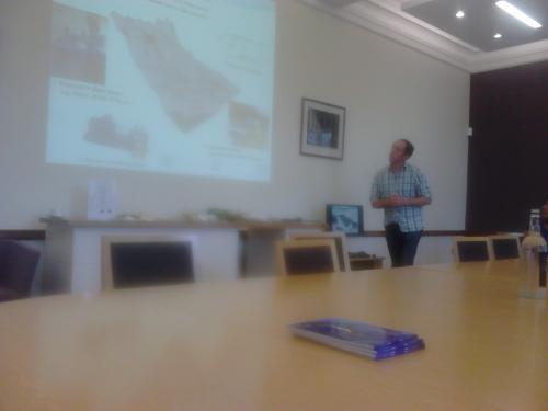 Dr. Prysor Williams give presentation to Welsh Minister for Finance