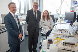 Mark Drakefod enjoyed a tour of the facilities and met Susan Allender working in a lab.