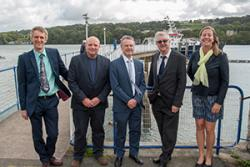 (l-r) Prof Kevin Flynn, Swansea University, Dr Michael Roberts, Marine Centre Wales, Prof Colin Jago, Mark Drakeford and Nicole Esteban, SEACAMS project  manager.