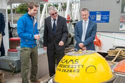 SEACAMS Research Officer, Dr Tim Whitton, at Bangor University's School of Ocean Sciences explains some of the technical kit which will be used aboard the research vessel, the Prince Madog.