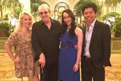 HanJie is pictured with Oscar-nominated actor, Danny Aiello; Nikki Pope (in blue), a graduate from the Academy and singer at the famous Ellen's Stardust Diner on Broadway and Emma Smith - a London-based singer.