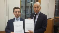 PhD student David Beck, left, with Frank Fields, MP for Birkenhead, at the launch of the latest report by the All Party Parliamentary Group on Hunger