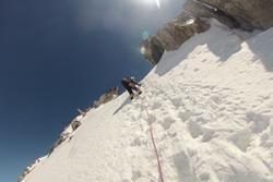 David yn ymarfer yn ardal Mont Blanc yn gynharach eleni.
