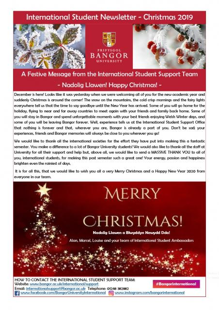International Student Newsletter - Christmas 2019