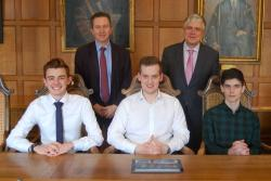 With Prof Oliver Turnbull and Prof Iwan Davies are the three Airbus apprentices: Alexander Jones, Tomas Parry and James Roles