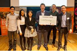 Left to right are winning team members: Adam Reading, Yui Ting Lee, Fangzhi Cao and Jesse Young with their winning checque presented by David Stacey of Zip World, with Prof Oliver Turnbull