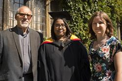 Graduate, Kalaivani Krishnanmurthi  is seen with Chris Walker, from the Enterprise Support Programme and Eirian James of B-Enterprising.