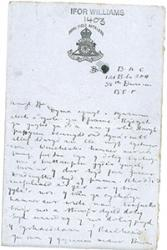 One of the letters from Arthur Wyn Williams in the Sir Ifor Williams collection of documents in the University's Archive.