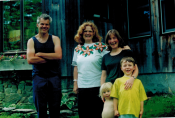 Rebecca and family with Ferris, New Hampshire, 2000