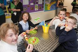 Pupils at Ysgol Tir Morfa enjoying eating healthily.