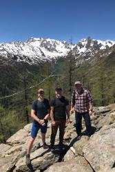 . Bangor distance learners (from left to right) Simon Moller, Sean Hoskins and Peter Comerford check out avalanche protection forestry.