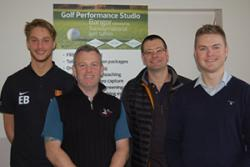 Eduardo Bellomo (Myfyriwr ATM), Matthew Wharton (The Golf Performance Studio), Dr James Hardy (SSHES), Dr Andy Cooke (SSHES).
