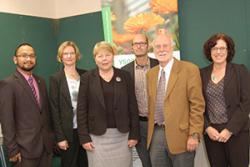 Ath the school, Baroness Randerson met (l-r) research student Norman Marzukhi, Katherine Steele, David Syles, John Witcombe and Morag McDonald.