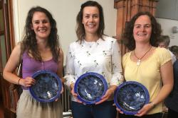Left to right, Karin, Rebecca and Daniela receive their Awards.