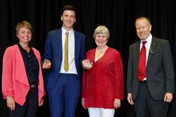Pictured are Mrs Heledd Cressey (daughter of the late Gwyn Thomas), Osian Wyn Owen, Mrs Jennifer Thomas (widow of Gwyn Thomas), and Professor Gerwyn Wiliams, Head of the School of Welsh.
