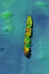 A high-resolution image of the wreck of the DAMAO torpedoed by U-91 on 28 April 1918.