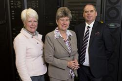 The Minister for Finance and Government Business Jane Hutt AM (centre) visiting the Cardiff HPC Wales hub yesterday - with Karen Padmore and Rick Hillum, CEO (HPC Wales)