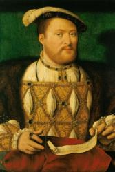 Henry VIII between circa 1530 and 1535- around the time of his 'Great Matter' or divorce proceedingas as we'd call them today.: Joos van Cleve (fl. 1485- 1540/42) formerly attributed to Hans HOlbein