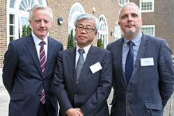 from left to right: Professor John G. Hughes (Vice-Chancellor of Bangor University), Kumiaki Moryia (Corporate Chief Engineer at Hitachi-GE Nuclear Energy Ltd.), Dr Michael Bluck, (Director of the Centre for Nuclear Engineering at Imperial College London)