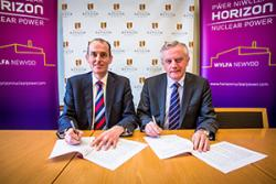 Signing  the agreement are Alan Raymant, Horizon Nuclear Power's Chief Operating Officer and Professor John G. Hughes, Vice-Chancellor of Bangor University.
