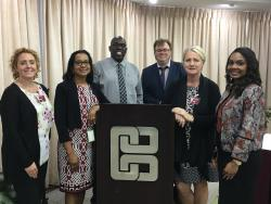 Bangor University in discussions with the Central Bank of Trinidad & Tobago: From Left to Right, Lisa Jones BU, Michelle Forte CB T&T, Dexter John CB T&T, John Ashton BU, Tanya Keith BU, and Marsha John (Institute of Banking and Finance of Trinidad and Tobago)