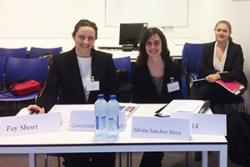 Law students, Fay Short, Silvina Sanchez Mera and Laura Jager (at rear) preparing to compete at the ICC Moot in The Hague.