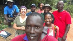 Selfie with DL MSc Tropical Forestry students, Professor Julia Jones (2nd from left) and Professor Phillip Nyeko (far right), July 2017 : (© George Ndege)