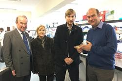 l-r: Nigel Lanceley, Charir NWCRF; Joan Davies, Chair  of the Charity's Holywell branch; Lord Mostyn, the Patron and Dr Edgar Hartsuiker during a tour of the cancer research labs at Bangor University.