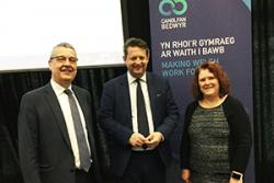 Prof David Shepherd, Deputy Vice-Chancellor, Minister Alun davies and Delyth Prys of the language technologies Unit at the start of the Conference