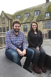 Tom and Anna outside the University's School of Music