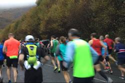 Heading into the mountains at the start of the Snowdonia Marathon, said to be one of Europe's toughest marathons.