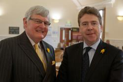 Anthony O'Toole, Head of Chambers at Linenhall Chambers, Chester (left), with Professor Dermot Cahill, Head of Bangor Law School, at the launch.
