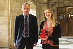 University Vice-Chancellor, Professor John G Hughes wanted to welcome Kathryn to the University as the fist recipient of the Fulbright Bangor University Award.