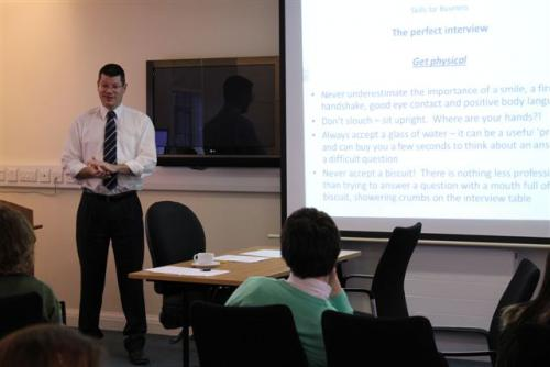 Neil Doncaster, Chief Executive of the Scottish Professional Football League, leading a 'Skills for Business' workshop